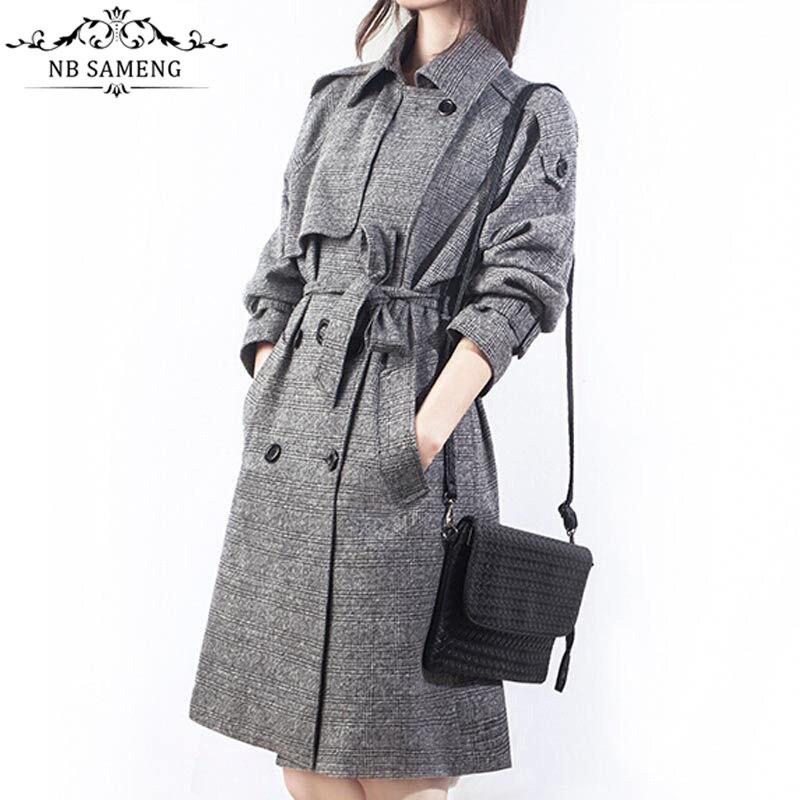 low priced 6585f 94d43 Nueva moda Delgado sólido de las mujeres de la vendimia líneas de  cuadrícula Lino Trencas abrigo Chaqueta larga windbreaker capa de ropa más  tamaño