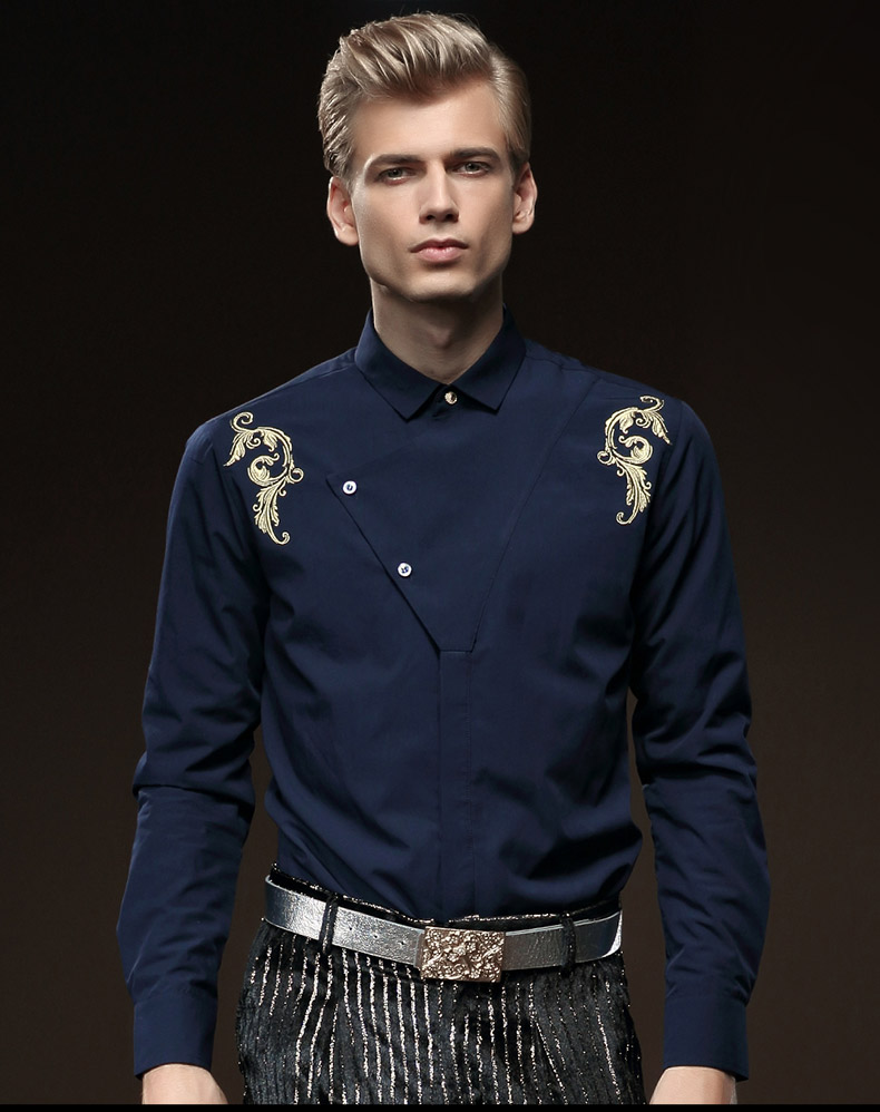 Fanzhuan Free Shipping New Male Fashion Casual Men's Man Slim Embroidered Long Sleeved Shirt Mens Easy-care 512087 Personality