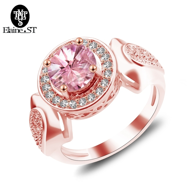 Fashion Women Pink Fire Opal Rings Rose Gold Filled Jewelry Vintage Wedding For Birthstone