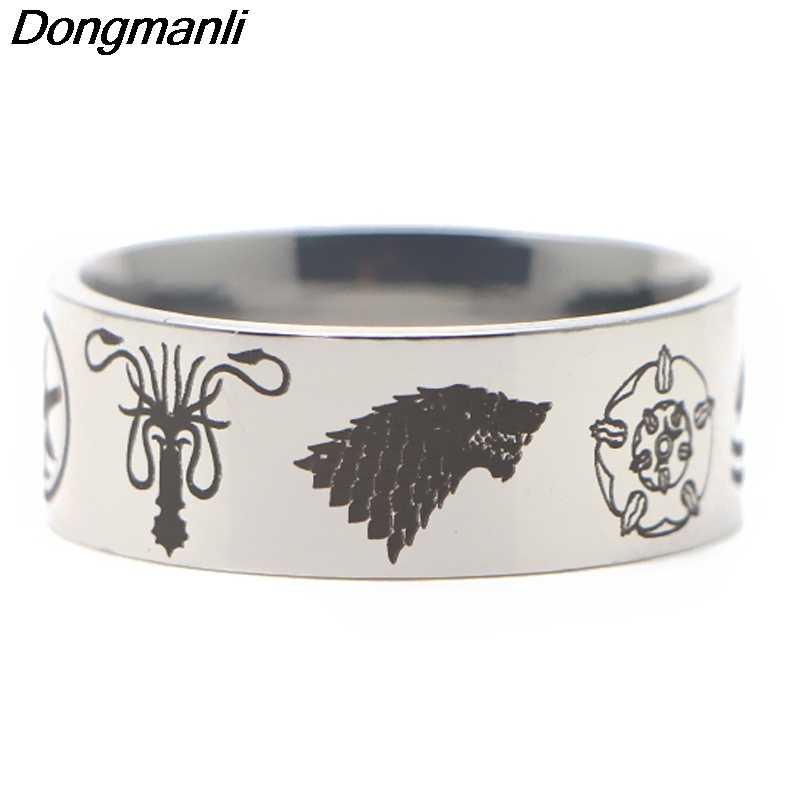 P3841 Dongmanli เกม of Thrones ทีวีแหวนแหวนสแตนเลสสำหรับผู้หญิงผู้ชายแฟชั่นสีดำแหวนเงิน