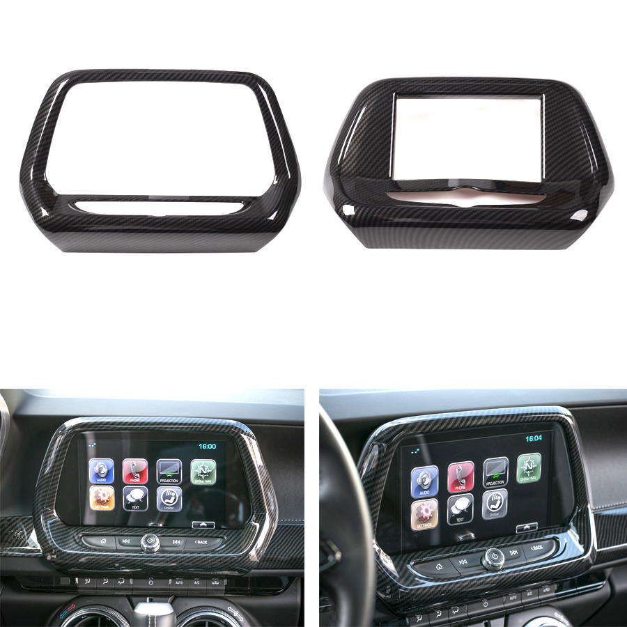 YAQUICKA Car Interior Navigation GPS Frame Trim Cover Styling Sticker For Chevrolet Camaro 2017+ ABS Accessories