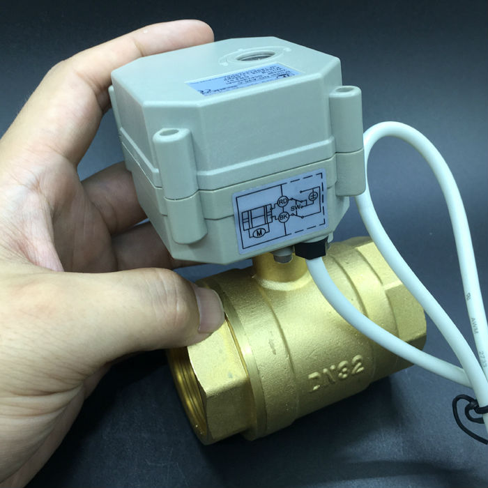 Brass DN32 Motorized Valve DC24V 2/3/5/7 Wires BSP/NPT 1-1/4'' Electric Valve 2-Way Brass Valve 29mm Bore Metal Gear CE