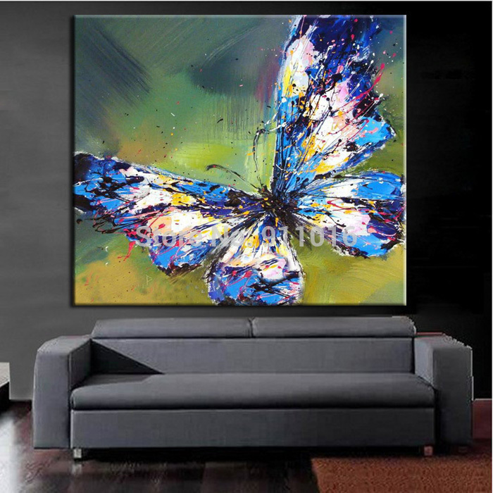 Aliexpress.com : Buy Big Size Hand Painted Picture Canvas Painting On Wall  Pictures For Living Room Decor Wall Animals Paintings Abstract Butterfly  From ... Home Design Ideas