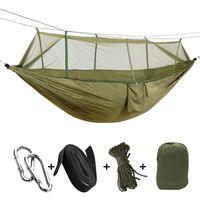 Draagbare Hoge Sterkte Parachute Stof Camping Hangmat Opknoping Bed Met Klamboe Slapen Hangmat Army Green