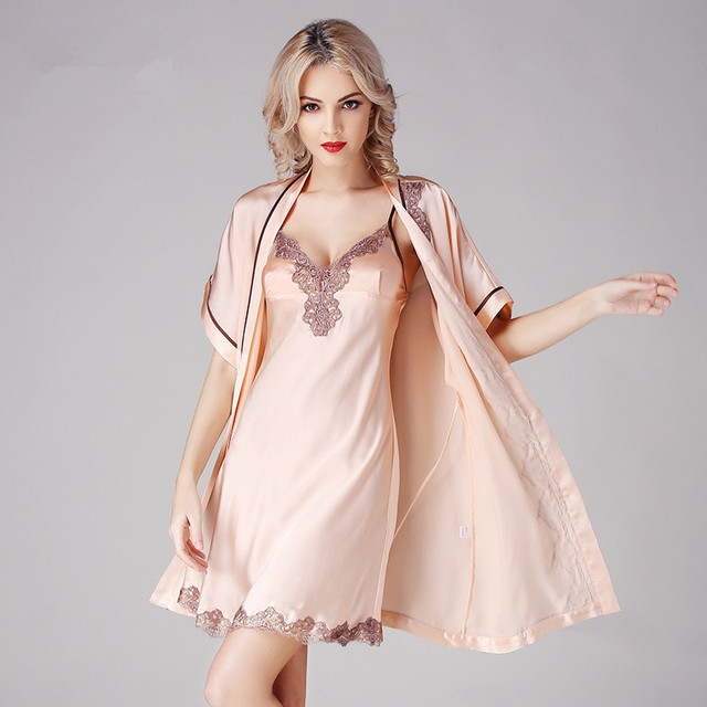 2016 new silk nightgown two-piece silk pajamas sling short-sleeved robe silk suit