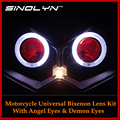 Motorcycle HID Bi-xenon CCFL Angel Halo& Devil Eyes Headlight Lens Dual Projectors Retrofit Kit For Kawasaki Z750 Z750R Z1000