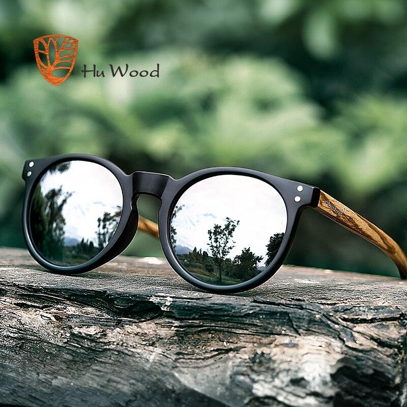 HU WOOD Brand Designer Polarized Sunglasses Men Plastic Frame Wood Earpieces Fashion Oval Sun Glasses Mirror Lens UV400 GR8003