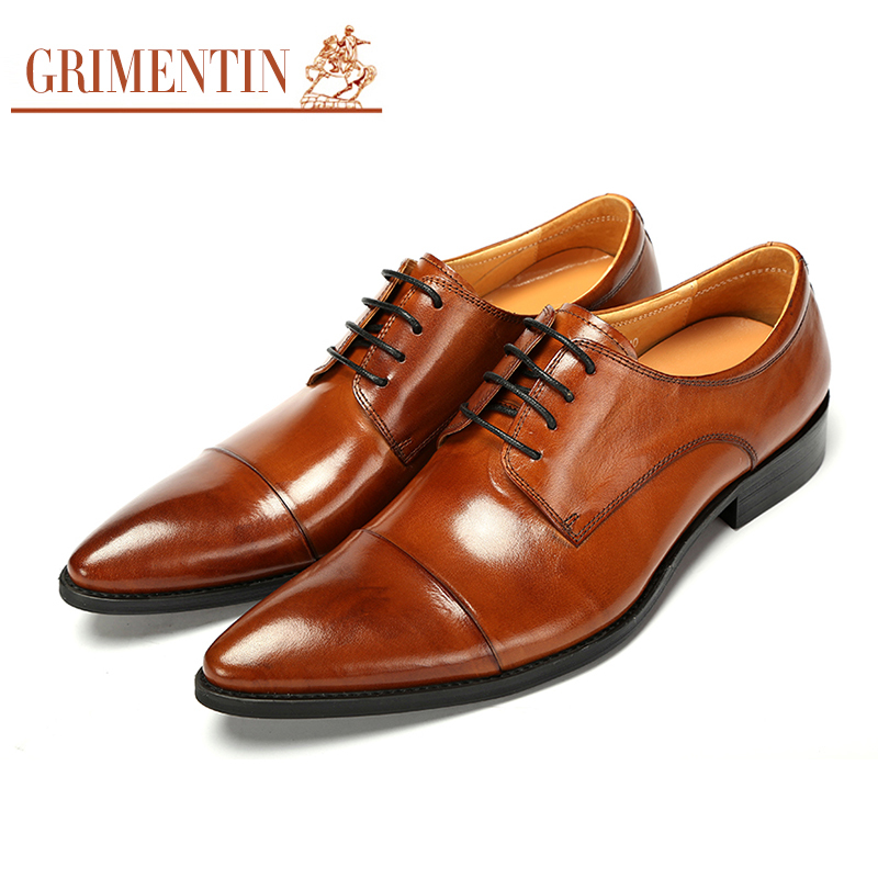 GRIMENTIN pointed toe shoes for men wedding black lace up classic formal business mens dress shoes genuine leather 2017 top quality crocodile grain black oxfords mens dress shoes genuine leather business shoes mens formal wedding shoes