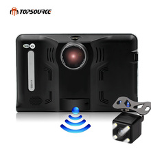 TOPSOURCE GPS Navigation 7 Inch Android 4.4 16GB/512MB Truck Car GPS Navigator Tablet PC Car Radar Detector Car DVR navitel Map