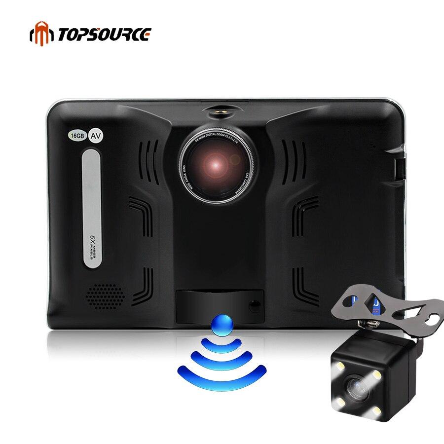 Topsource GPS навигации 7 дюймов Android 4.4 16 ГБ/512 МБ Грузовик автомобилей GPS навигатор Планшеты ПК автомобиля Антирадары видеорегистраторы для автомобилей Навител Географические карты