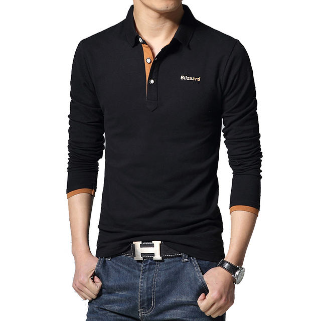 Hot new 2016 spring and autumn classical money men's fashion casual Slim solid color lapel XL long-sleeved polo shirt