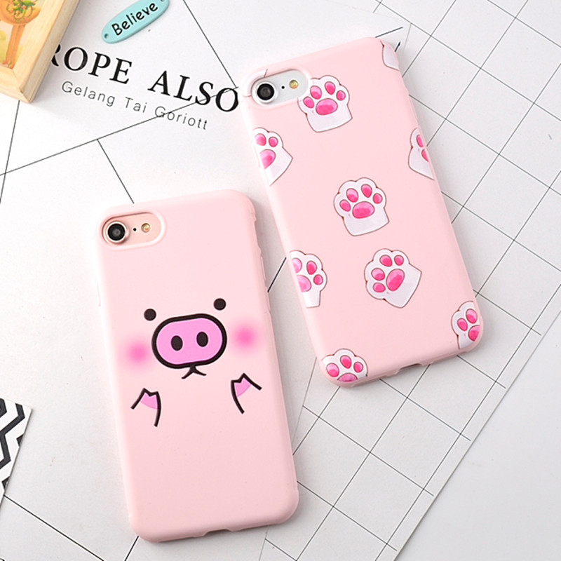 For iPhone 8 Plus 6 6S 7 Plus Case Cartoon Ultra Thin Pig and Cat Palm Pink Color Soft Back Cover For iPhone 7 Case Silicone