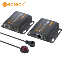 Neoteck HDMI Extender With 2 Ports HDMI Splitter 1080p Extend 60m RJ45 Transmitter TX/RX with IR Remote Cable Support CAT6/CAT7