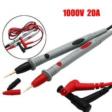 1 par de cables de prueba de sonda universal Pin para multímetro Digital medidor de punta de aguja multímetro probador de sonda de plomo Cable de lápiz 20A