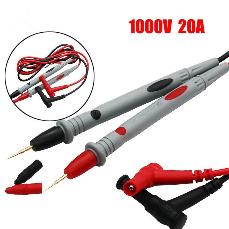 Multímetro digital ponta da agulha, 1 par de pontas de prova de ponta de prova universal pin para medidor multímetro testador ponta de prova de chumbo fio caneta cabo 20a