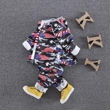 Spring Baby's Boys Sets Camouflage Print Trousers + Cotton T-shirt + Jacket Coat Infant Tracksuit Kids 3Pcs Suits roupas de bebe