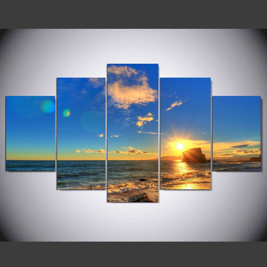 5 panel modern beach scenes hd art print canvas art wall framed paintings for living room wall. Black Bedroom Furniture Sets. Home Design Ideas