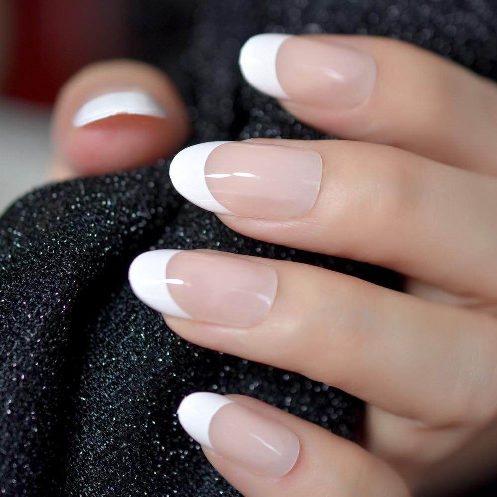 Nail Art Salon Овальный Акрил французский комплект для ногтей Настоящее Средний Длина Grace Овальный накладные ногти французский 24 Советы