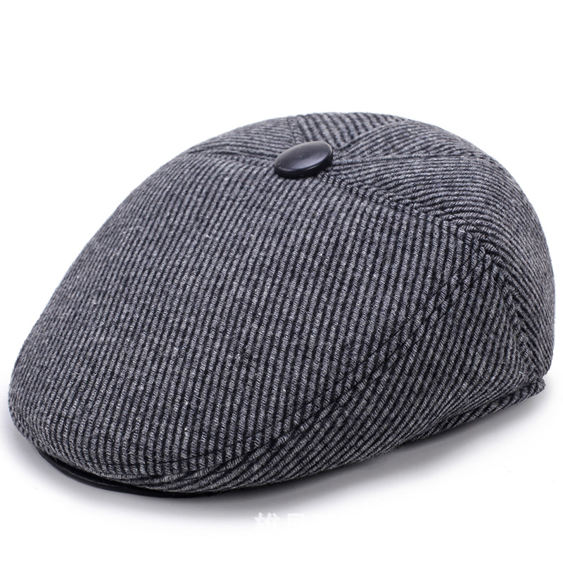 Men's flat-top hat autumn and winter outdoor leisure hat fashion brushed cotton twill ivy hat flat cap by decky brown