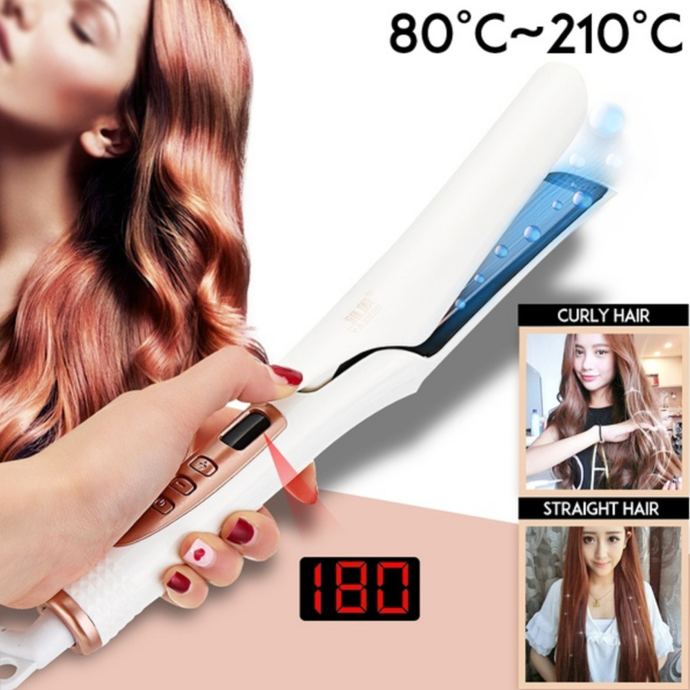 2-in 1 LED Display Dry/Wet Hair Straightening Iron 4D Vapor Steam