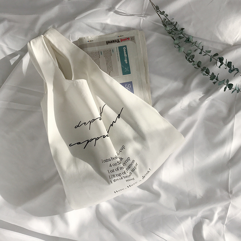 YILE Cotton Linen Wrist Bag Handbag Shopping Tote Solid Color Print English Letter 4 Colors To Choose From S1230