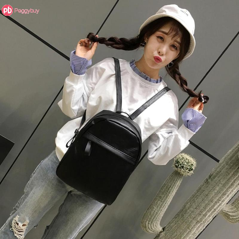 Women Pu Backpack Fashion Student School Shoulder Bag Solid Black Travel Backpacks For Teenage Girls Women Zipper Sac A Main