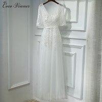 C V 2017 Autumn And Winter New White Color Evening Dress Long Design Fashion V Neck