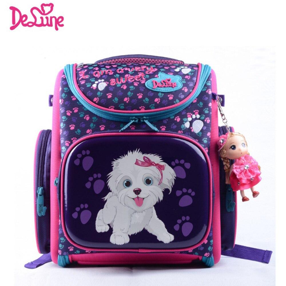 School bag for girl - Delune Children School Bags Cartoon Bear Dog Cat Kid Bag For Girls For School Girl Flower