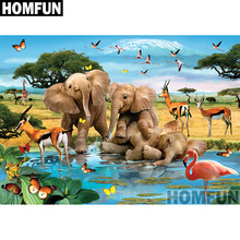 HOMFUN Full Square/Round Drill 5D DIY Diamond Painting Animal Paradise 3D Embroidery Cross Stitch Home Decor A00770