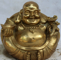 JP S0524 10 Chinese Buddhism Brass Wealth Happy Laugh Maitreya Buddha Sculpture Statue Discount 35