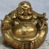 JP S0524 10 Chinese Buddhism Brass Wealth Happy Laugh Maitreya Buddha Sculpture Statue Discount 35