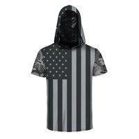 Çizgili Yıldız ABD Bayrağı Baskı Kapüşonlu Tişörtlü Erkek/Kadın Yaz 3D erkek T-Shirt Slim Fit Hip Hop Harajuku Hoodies Tee Gömlek Homme