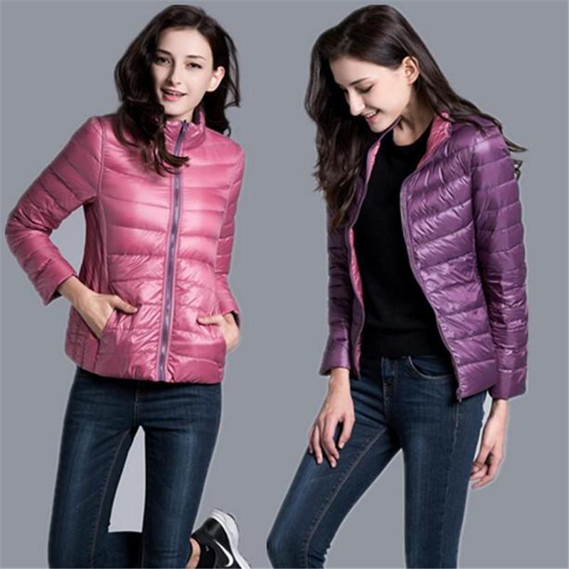 2018 Winter Duck Down Jacket Women Coats parka Ultra Light Down Jackets Reversible two side wear women jacket Winter Coat Parkas