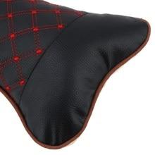 2 Pcs Leather PP Cotton Car Headrest Neck Pillow