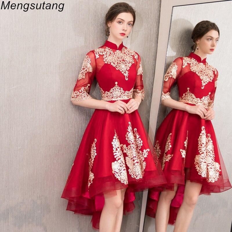 Robe de soiree lace vestido de festa   evening     dress   with Appliques Short Front Long Back Party   Dresses   Prom   dresses   Formal   dress