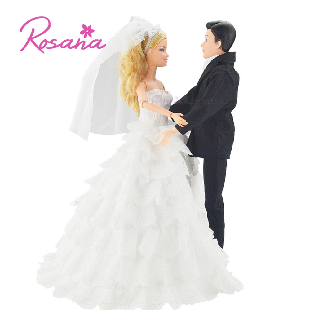 2 Pcs Handmade Church Outfits Wedding Bride Gown With Veil For Barbie Doll And Formal Suit Clothes for Ken Doll Accessories Toys doll wedding dress 100% handmade warm red luxury crystal bride wedding doll big trailing evening gown for barbie doll