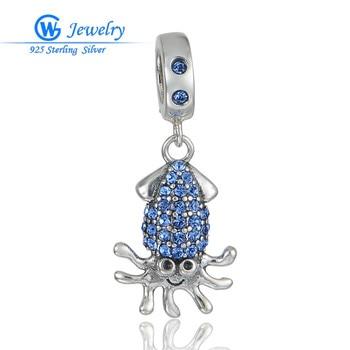 Joyería de estilo europeo, diseño de pulpo con cristal esmaltado azul, joyería...
