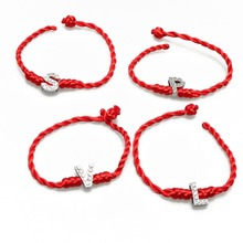 1 pc Red Thread String A-S Letters Bracelets Rope Weave Crystal Charm Women Lucky Bracelet Jewelry Gift