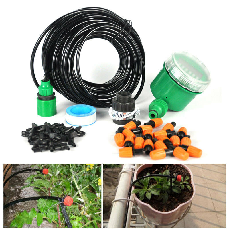Diy Micro Drip Irrigation Auto Timer Self Plant Watering 25m Garden Hose System Lawn Sprinklers