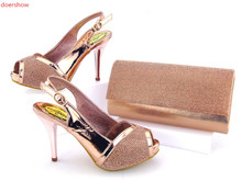doershow High Quality Italian Shoe and Bag to Match Women Shoes African Party Shoes and Bag Set peach color  KG1-1