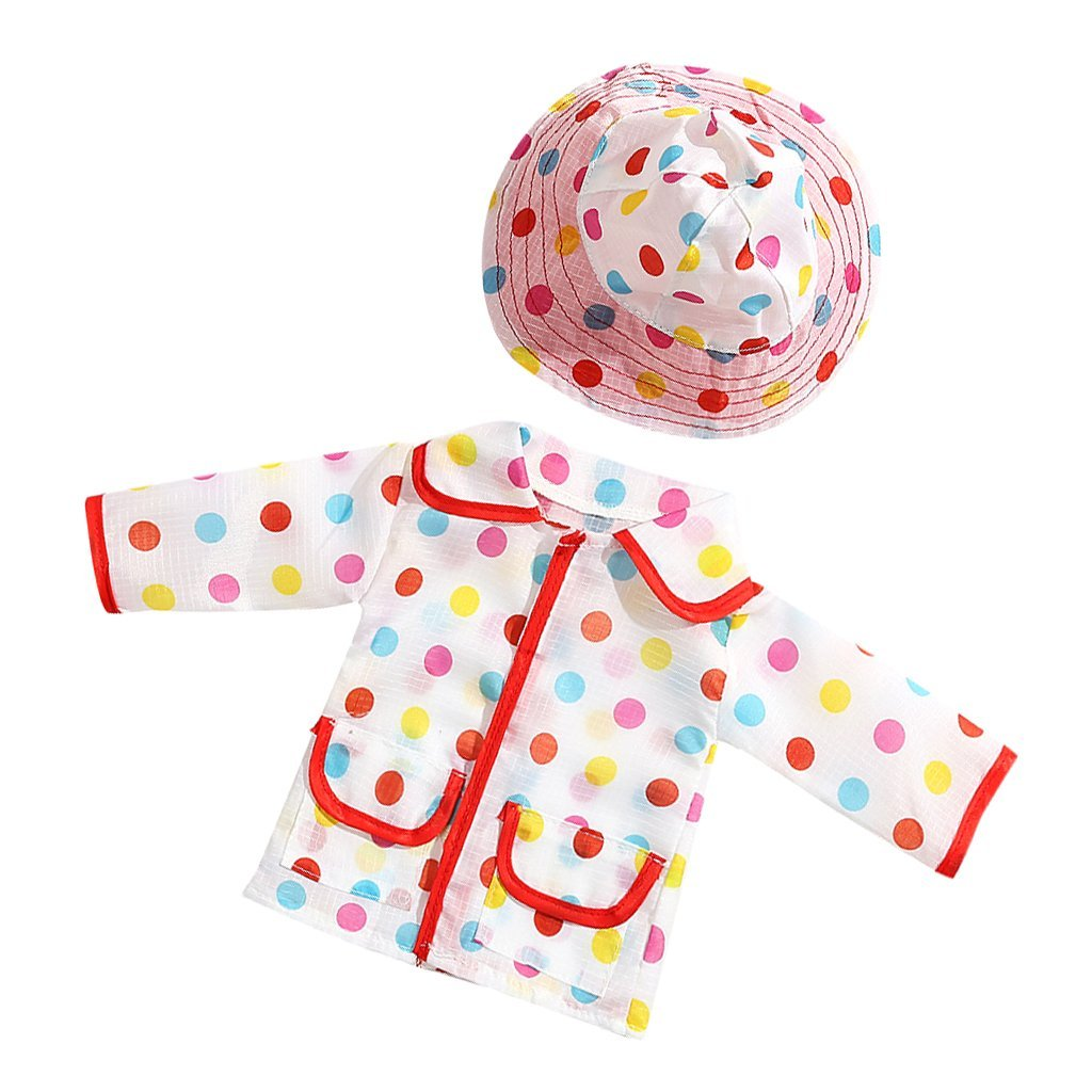 White Rainbow Dot Raincoat Coat & Hat Set Outfit for 18 inch American Girl Doll ...