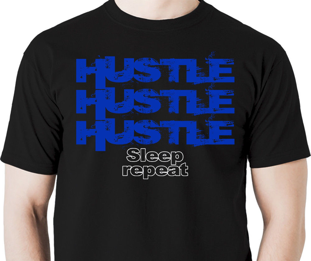 Hustle repeat T shirt fun print T shirt Homme 2018 New