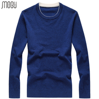 MOGU Pure Color O Neck Pullover Male Men's Sweater 2017 Autumn New Casual Slim Fit Wool Sweater Men Asian Size Men Sweater