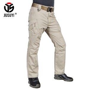 Image 2 - IX9 Men Tactical Pants Combat Cargo Army Zipper 9 Pocket Flexible Casual Cotton Trousers Black Active waterproof Military Pants