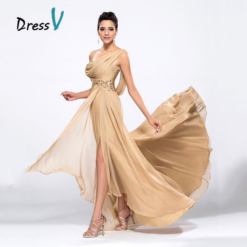 Dressv Billige Champagne Aftenkjoler 2017 Draped One Shoulder Long - Spesielle anledninger kjoler - Bilde 4