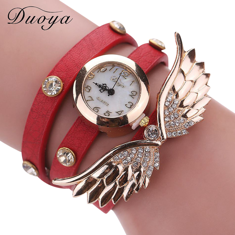 Dress Watches Bracelet Quartz Gift Clock Ladies Rhinestone Crystal Gold Duoya Women 77