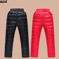 Famli לשני המינים ילדים חורף למטה ילדים צפצף בנות עבה חם אופנה ספורט מכנסיים צפצף תרמית מוצק אופנה בני 4Y-10Y