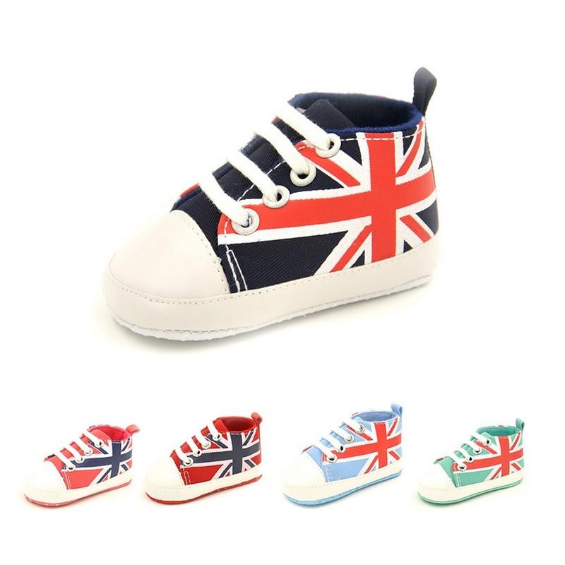 The Union Jack Newborn Shoes Anti-Slip Baby Boy Canvas Shoe Infant First Walker Girls Sneakers Children Plimsolls Boots Flag