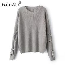 NiceMix 2017 Autumn Winter Casual O-neck Pullover Sweater Women Loose Knitted Sleeve Lacing Warm Sweaters