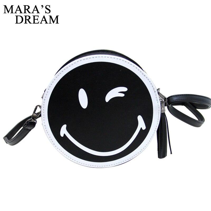 Maras Dream 2018 Circular Bag Cute Bag Smile Face Fashion Women Messenger Bag Shoulder Bag Small Purse mini handbag bolsas Wome